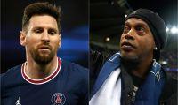 Video: Un abrazo lleno de magia y fútbol entre Messi y Ronaldinho en la previa de PSG-Leipzig