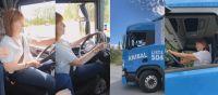 VIDEO: Patricia Bullrich llegó a Cipolletti manejando un camión sin tener licencia habilitante y generó revuelo